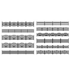 decorative cast iron fences - seamless borders vector image