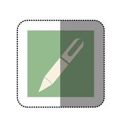 color sticker square with pen icon vector image