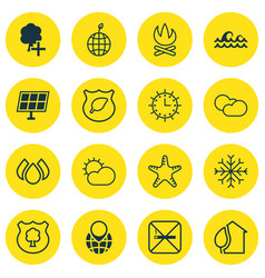 Set of 16 ecology icons includes timber home vector