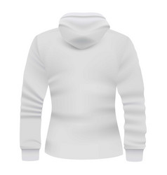 White hoodie back view mockup realistic style vector