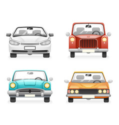 Front view retro modern car icons set isolated vector