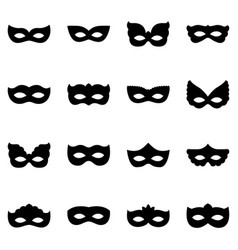 Set of carnival mask silhouettes vector
