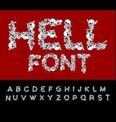 Hell font bones abc skeleton letters skull and vector