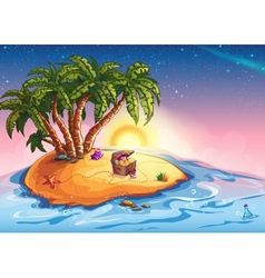 Island with palm trees and a treasure vector