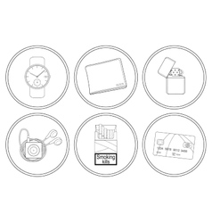 Every day carry detailed linear icons set vector