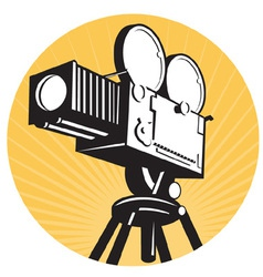 Vintage movie film camera vector