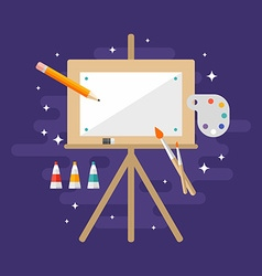 Wooden easel with a blank canvas flat style vector