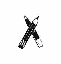 Pen and pencil icon simple style vector