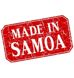 Made in samoa red square grunge stamp vector
