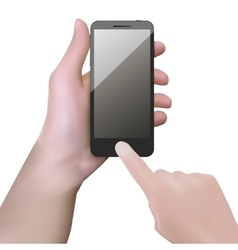 Realistic black mobile phone with blank screen in vector