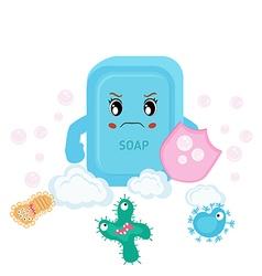 Soap and bacteria run away vector