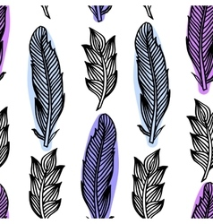 Colorful seamless pattern with feathers Boho vector image