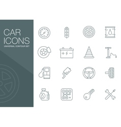 Auto mechanic related icons silhouettes vector