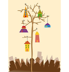 Bird little town vector image