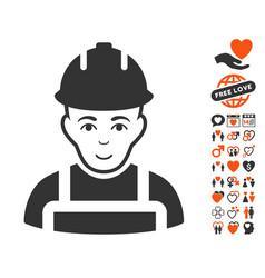 Builder icon with love bonus vector
