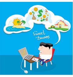 Business man dreaming cartoon vector