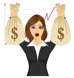 Businesswoman holding two big dollar money bags vector