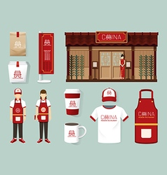 china modern restaurant cafe set shop front design vector image