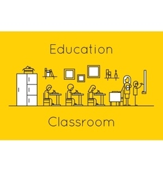Classroom education thin line concept vector image vector image