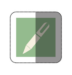 color sticker square with pen icon vector image vector image