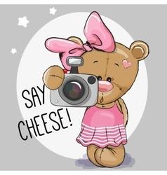 Cute cartoon teddy bear girl with a camera vector