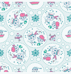 Doodle seamless pattern sailor and fish vector