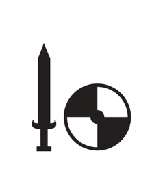 Flat icon in black and white sword shield vector