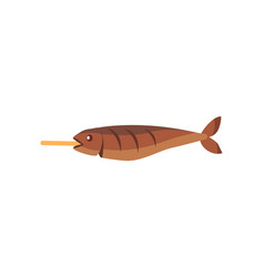 fried fish on stick isolated vector image