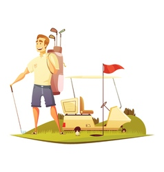 Golf Course Player Retro Cartoon Icon vector image