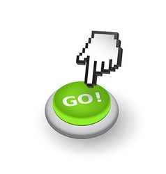 Green go push button sign emblem hand wi vector