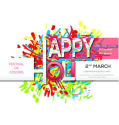 Holi 2018 2nd march invitation poster vector