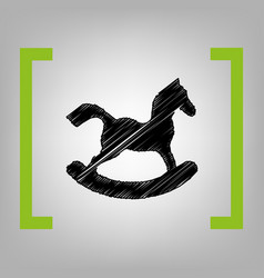 Horse toy sign black scribble icon in vector