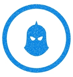 Knight helmet rounded icon rubber stamp vector