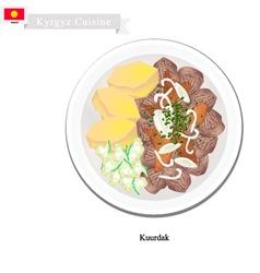 Kuurdak or Kyrgyz Stewed Brown Meat with Onion vector image