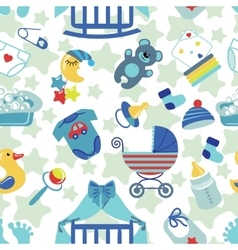 Newborn baby boy seamless pattern vector