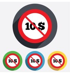 No 10 dollars sign icon usd currency symbol vector
