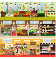 People making purchases flat poster set vector