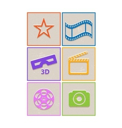 Retro paper cinema icons vector image