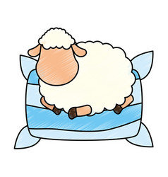 sheep sleeping on pillow vector image