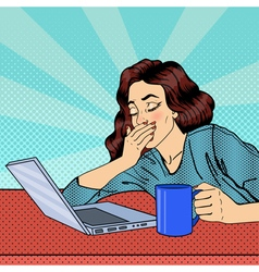 Tired businesswoman exhausted woman with laptop vector