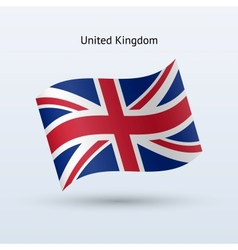 United Kingdom flag waving form vector image