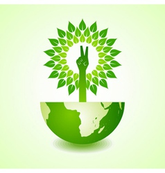 Victory hand make tree on earth vector image vector image
