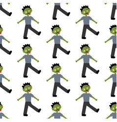 Zombie halloween costume pattern vector