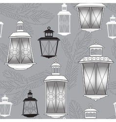 Christmas seamless pattern with lantern and pine vector image