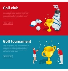 Horizontal Golf Club banners with golf car course vector image