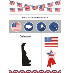 map of delaware set of flat design icons vector image