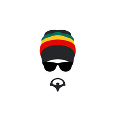 man wearing rastafarian hat icon in flat style vector image