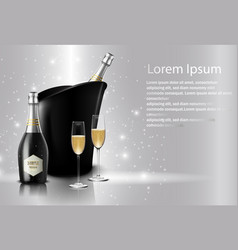 Wineglass with black wine bottles of champagne vector