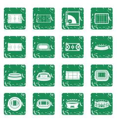 Sport stadium icons set grunge vector