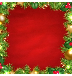 Vintage red background with christmas border vector